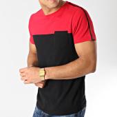 /achat-t-shirts-poche/lbo-tee-shirt-poche-bicolore-avec-bandes-535-rouge-noir-157747.html