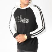 /achat-sweats-capuche/john-h-sweat-capuche-avec-bandes-9106-noir-blanc-157892.html