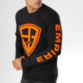 /achat-sweats-col-rond-crewneck/93-empire-sweat-crewneck-93-empire-sleeves-noir-orange-158088.html