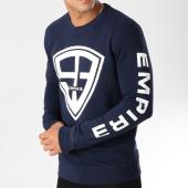 /achat-sweats-col-rond-crewneck/93-empire-sweat-crewneck-93-empire-sleeves-bleu-marine-blanc-158096.html
