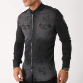 /achat-chemises-manches-longues/ikao-chemise-manches-longues-zippee-f211-gris-anthracite-avec-bandes-158078.html