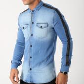 /achat-chemises-manches-longues/ikao-chemise-manches-longues-zippee-f211-bleu-denim-avec-bandes-158087.html