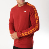 /achat-sweats-col-rond-crewneck/fila-sweat-crewneck-bande-brodee-aren-682363-bordeaux-orange-158295.html