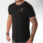 /achat-t-shirts-longs-oversize/final-club-tee-shirt-oversize-gold-label-avec-bandes-et-broderie-or-103-noir-159254.html
