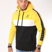 /achat-sweats-capuche/final-club-sweat-capuche-tricolore-avec-bandes-et-broderie-134-noir-blanc-jaune-159335.html