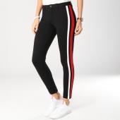 /achat-pantalons-carreaux/only-pantalon-femme-avec-bandes-evi-sport-stripes-noir-blanc-rouge-159409.html