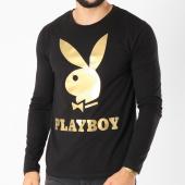 /achat-t-shirts-manches-longues/playboy-tee-shirt-manches-longues-logo-noir-dore-159563.html