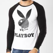 /achat-t-shirts-manches-longues/playboy-tee-shirt-manches-longues-raglan-logo-blanc-noir-159581.html