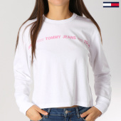 /achat-t-shirts-manches-longues/tommy-hilfiger-jeans-tee-shirt-manches-longues-femme-linear-statement-blanc-159644.html