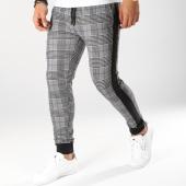 /achat-pantalons-carreaux/john-h-pantalon-jogging-a-carreaux-avec-bandes-2283-noir-blanc-160473.html