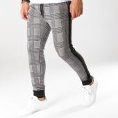 /achat-pantalons-carreaux/john-h-pantalon-jogging-a-carreaux-avec-bandes-2283-noir-blanc-orange-160475.html
