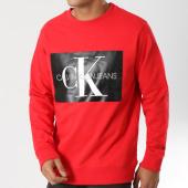 /achat-sweats-col-rond-crewneck/calvin-klein-sweat-crewneck-monogram-box-logo-7746-rouge-noir-160809.html