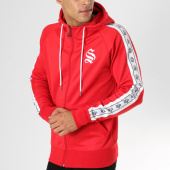 /achat-sweats-zippes-capuche/sinners-attire-sweat-zippee-capuche-bandes-brodees-poly-panel-rouge-160800.html