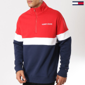 /achat-sweats-col-zippe/tommy-hilfiger-jeans-sweat-col-zippe-retro-mock-5487-bleu-marine-rouge-blanc-160873.html