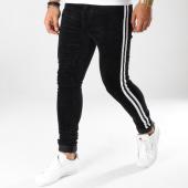 /achat-pantalons-carreaux/sixth-june-pantalon-velours-avec-bandes-m3626hde-noir-blanc-161053.html