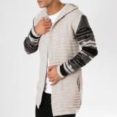 /achat-cardigans-gilets/ikao-gilet-zippe-capuche-oversize-f256-ecru-noir-161267.html