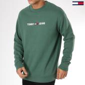 /achat-sweats-col-rond-crewneck/tommy-hilfiger-jeans-sweat-crewneck-small-logo-5147-vert-161836.html