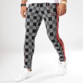 /achat-pantalons-carreaux/classic-series-pantalon-carreaux-avec-bandes-f2513-noir-gris-chine-rouge-161993.html