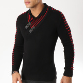 /achat-pulls/john-h-pull-col-amplified-27-noir-rouge-162174.html