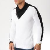 /achat-pulls/john-h-pull-avec-col-amplified-29-blanc-noir-162181.html