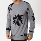 /achat-sweats-col-rond-crewneck/uniplay-sweat-crewneck-uy316-gris-chine-noir-floral-162145.html