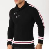 /achat-pulls/john-h-pull-avec-col-amplified-et-bandes-23-noir-blanc-rouge-162235.html