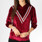 /achat-sweats-capuche/girls-only-sweat-capuche-femme-velours-avec-bandes-v2027-bordeaux-162384.html