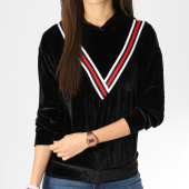/achat-sweats-capuche/girls-only-sweat-capuche-femme-velours-avec-bandes-v2027-noir-162385.html