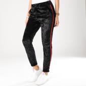 /achat-pantalons-carreaux/girls-only-pantalon-femme-velours-avec-bandes-a036b-noir-rouge-162582.html