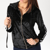 /achat-sweats-zippes-capuche/girls-only-sweat-zippe-capuche-femme-velours-avec-bandes-a035b-noir-blanc-162584.html