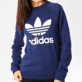 /achat-sweats-col-rond-crewneck/adidas-sweat-crewneck-femme-trefoil-dv2625-bleu-marine-162644.html