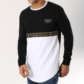 /achat-t-shirts-manches-longues/gianni-kavanagh-tee-shirt-manches-longues-oversize-bandes-brodees-gold-tape-noir-blanc-dore-162652.html