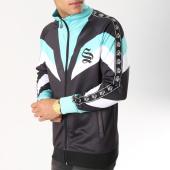 /achat-vestes/sinners-attire-veste-zippee-bandes-brodees-retro-noir-bleu-turquoise-blanc-162650.html