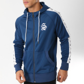 /achat-sweats-zippes-capuche/sinners-attire-sweat-zippe-capuche-bandes-brodees-poly-bleu-marine-blanc-162651.html
