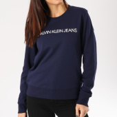 /achat-sweats-col-rond-crewneck/calvin-klein-sweat-crewneck-femme-institutional-bleu-marine-162897.html