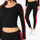 /achat-ensembles-survetement/girls-only-ensemble-top-crop-legging-femme-avec-bandes-28159-noir-rouge-163122.html