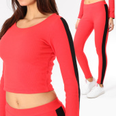 /achat-ensembles-survetement/girls-only-ensemble-top-crop-legging-femme-avec-bandes-28159-rouge-noir-163124.html