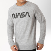 /achat-sweats-col-rond-crewneck/nasa-sweat-crewneck-worm-logo-zebra-gris-chine-163201.html