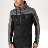 /achat-sweats-zippes-capuche/gym-king-sweat-zippe-capuche-oversize-capo-panel-noir-gris-163407.html