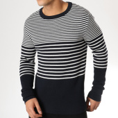 /achat-pulls/selected-pull-stripe-structure-bleu-marine-blanc-163606.html