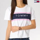 /achat-t-shirts/tommy-hilfiger-jeans-tee-shirt-femme-crop-stripe-logo-5708-blanc-164233.html