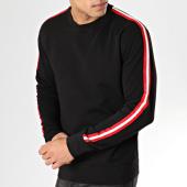 /achat-sweats-col-rond-crewneck/lbo-sweat-crewneck-avec-bandes-rouge-blanc-577-noir-164339.html