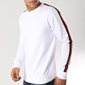/achat-sweats-col-rond-crewneck/lbo-sweat-crewneck-avec-bandes-noir-rouge-578-blanc-164340.html