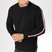 /achat-sweats-col-rond-crewneck/lbo-sweat-crewneck-avec-bandes-bleu-blanc-rouge-579-noir-164341.html