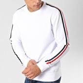 /achat-sweats-col-rond-crewneck/lbo-sweat-crewneck-avec-bandes-bleu-blanc-rouge-580-blanc-164342.html