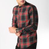 /achat-chemises-manches-longues/frilivin-chemise-manches-longues-avec-bandes-4103-noir-rouge-164776.html