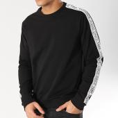 /achat-sweats-col-rond-crewneck/versace-jeans-sweat-crewneck-avec-bandes-logo-tape-b7gtb7f9-13850-noir-blanc-166087.html