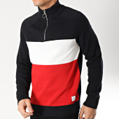 /achat-pulls/only-and-sons-pull-col-zippe-tricolore-clark-bleu-marine-blanc-rouge-166602.html