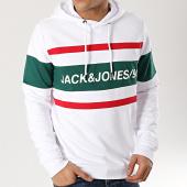Jack And Jones - Sweat Capuche Fade Blanc Vert Rouge a99d90c25be4