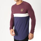 /achat-t-shirts-manches-longues/siksilk-tee-shirt-oversize-manches-longues-14336-bordeaux-bleu-marine-ecru-dore-167079.html